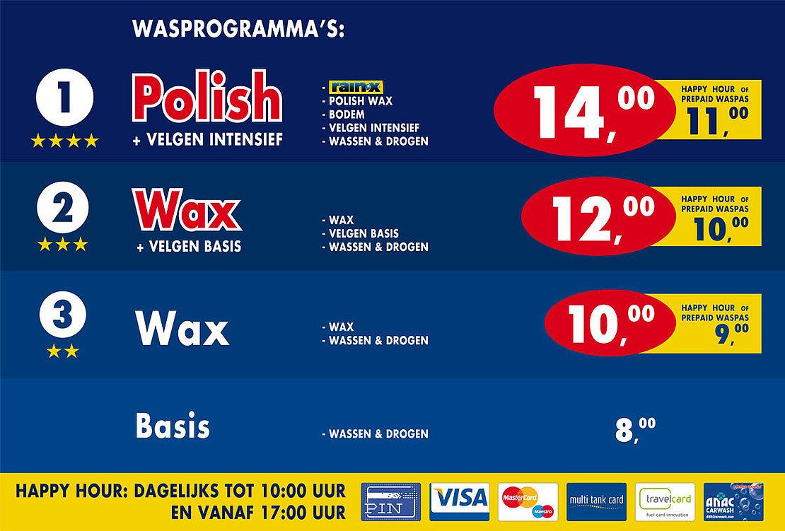 Klik hier voor de actuele prijzen van de ANAC Carwash Nieuwegein